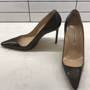 Chocolate Brown Patent Leather BB Pumps
